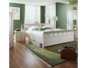 Massivholz-Bett mit Nachtkonsolen Weiß (3-teilig)