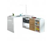 Winkelschreibtisch Madina - Hochglanz Weiß/Eiche Sonoma Dekor, home24 office