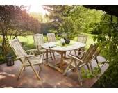 Cats Collection 7 teilige Teak Gartengruppe mit Auszugstisch 180 - 240 cm und sechs Gartenstühlen