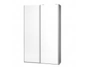 Schwebetürenschrank Soft Smart - 120 cm - Silbereiche Dekor - Weiß - Ohne Spiegeltür/-en, Cs Schmal