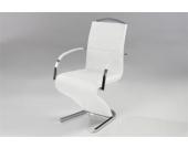 Kasper Wohndesign Pearl Freischwinger Stuhl mit Armlehnen Lederimitat Weiß