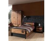Vipack Set Alex best. aus Nachtkonsole, Einzelbett 90x200, Bettschublade, Kleiderschrank 3-trg. Kiefer gebürstet