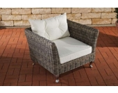 Polyrattan Sessel MOSS mit GRATIS Sitz- und Rückenkissen, 5mm Rundrattan, ALU Gestell, 100% rostfrei, bis zu 2 Polster-Farben wählbar