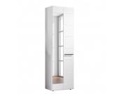 Garderobenschrank Looma - Hochglanz Weiß - mit Spiegel, Top Square