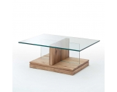 Wohnzimmertisch aus Wildeiche Massivholz Glasplatte