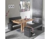 Massivholztisch mit Bänken aus Kernbuche und Kunstleder (3-teilig)