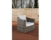 Polyrattan Sessel BERGEN mit GRATIS Sitz- und Rückenkissen, 5mm Rundrattan, ALU Gestell, 100% rostfrei