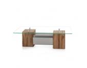 Wohnzimmertisch aus Teak Massivholz und Metall Glas