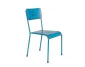 Metallstuhl in Blau Industry Style