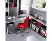 Kombitisch Eugeneset (4-teilig) - mit Eckverbindung und Rollcontainer - Anthrazit/Rosales Dekor, home24 office