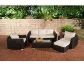 Polyrattan Gartengarnitur MADEIRA 3-1-1 schwarz, 3er Sofa & 2 Sessel inkl. Sitz- und Rückenpolster, Hocker, Tisch, FARBWAHL
