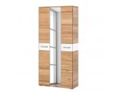Garderobenschrank Giaveno II - Eiche / Glas Weiß - Metall Matt, Wittenbreder