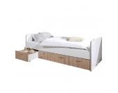 Funktionsbett Bonny - 90 x 200cm - 3 Bettkästen - Weiß / Eiche Sonoma Dekor, Relita