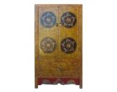 Tibet um 1870 klassischer Hochzeitsschrank Ulmenholz filigrane Bemalun