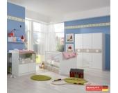 WIMEX Babyzimmereinrichtung KIMBA - Wickelkommode, Bett und gr.Kleiderschrank inkl. Bettschubkasten, Unterschrank und Hängeregal
