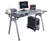 Schreibtisch / Computertisch / Glastisch ORION Graphit / Glas / Silber hjh OFFICE