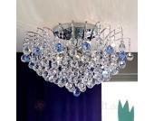 Blaue Kristalldeckenleuchte LENNARDA, 62 cm