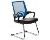 Konferenzstuhl / Freischwinger / Stuhl VISTO NET V Netzstoff schwarz / blau Chrom hjh OFFICE