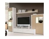 Schrankwand mit TV-Aufsatz Beige-Weiß (4-teilig)
