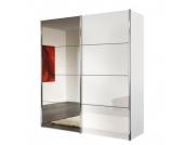 Schwebetürenschrank Louisville (mit Spiegel) - Polarweiß/Weißlack - Schrankbreite: 200 cm - 2-türig, Express Möbel